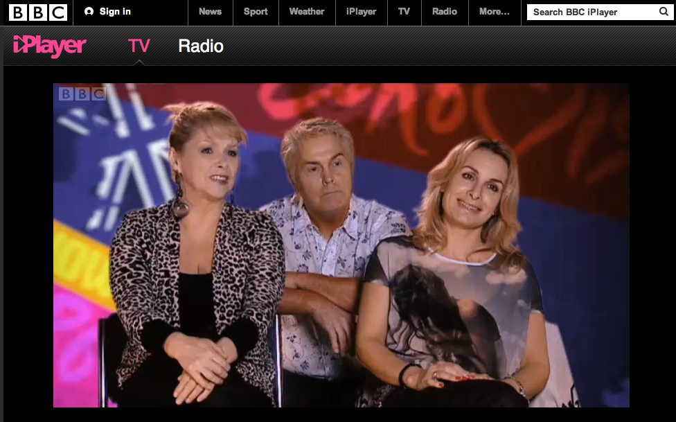 Jay Aston wearing the Mango T-shirt with my image on BBC